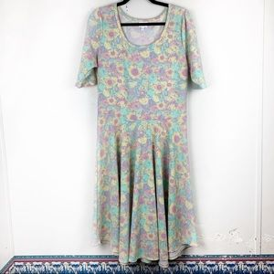 LULAROE Nicole Dress Floral Print Multicolor XXL